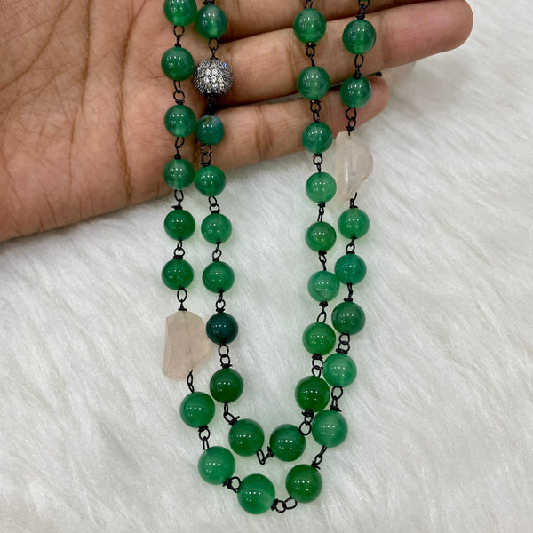 Green Onyx Rose Quarts Necklace