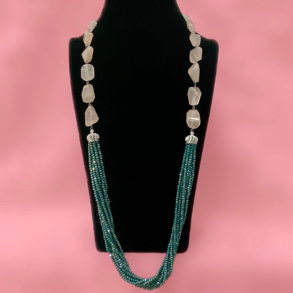 Rose Quartz and Green Crystal Necklace