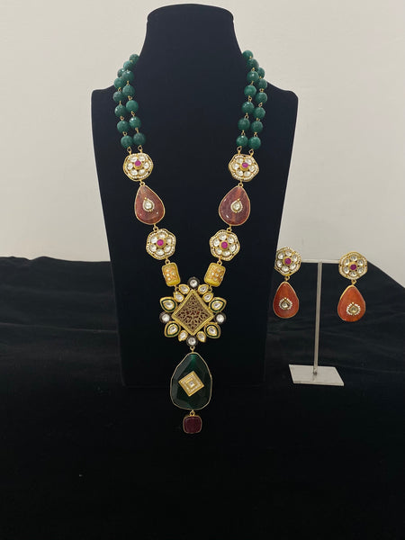 Traditional Thewa and Kundan work with Semi Precious Stone Necklace Set