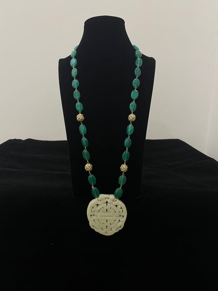 Green and Off White Long Stone Pendant Necklace