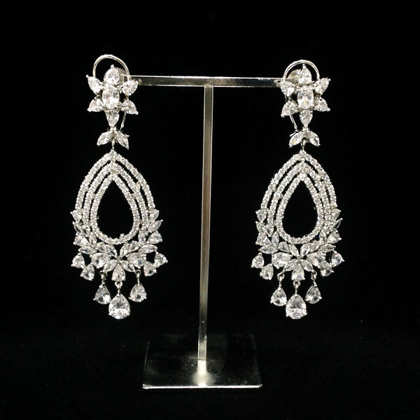 White Rhodium Zircon Dangler Earrings
