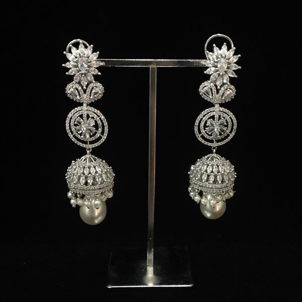 Long Cubic Zirconia Jhumki Earrings