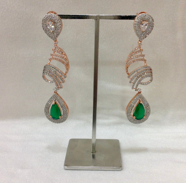 Emerald Green and Rose Zircons Long Earrings