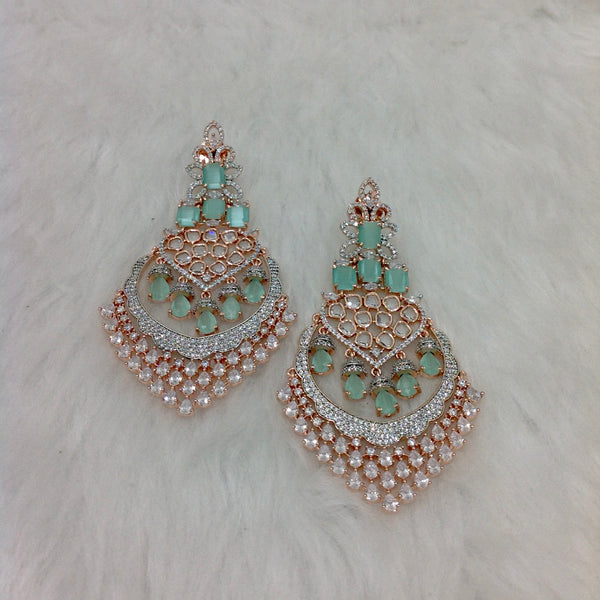 Mint Green Zircon Chandbali Earrings