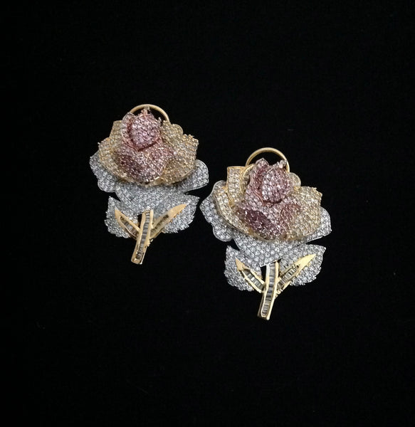 Gold Silver Rose Earrings