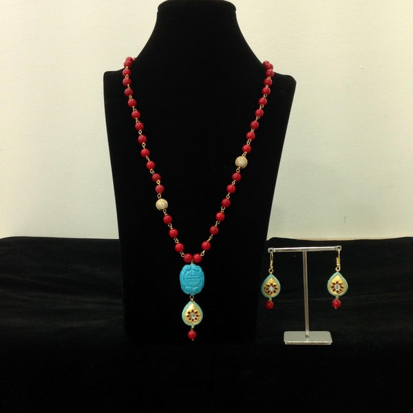 Red and Turquoise Necklace Set