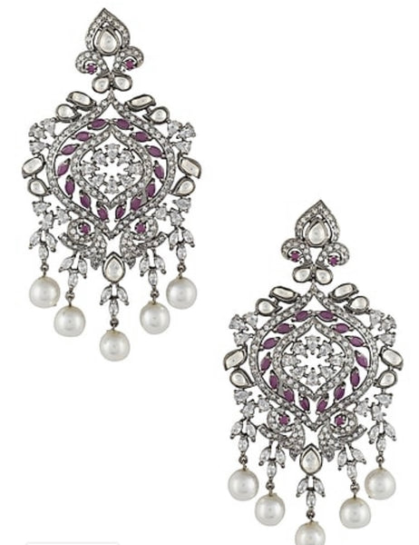 Rhodium and black polished Kundan Zircon Earring