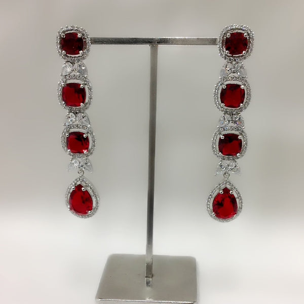 Red Zirconia Long Earrings