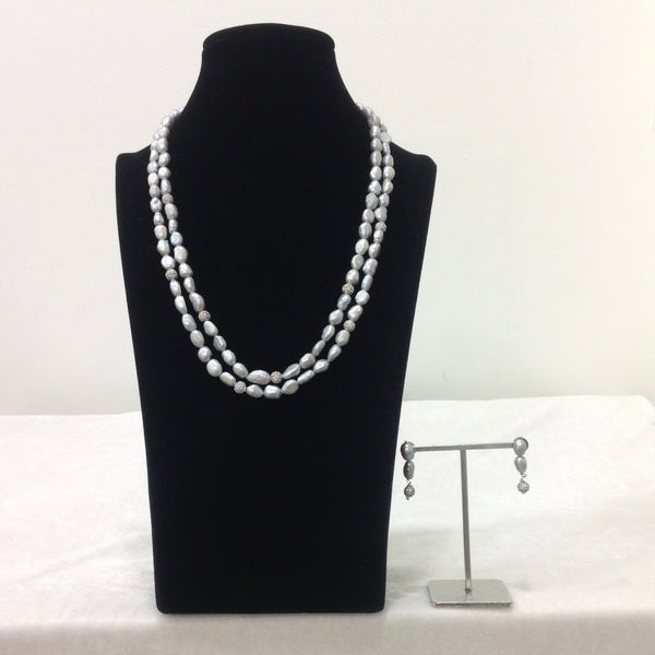 Snow White Fresh Water Pearl With Cubic Zirconia Necklace Set