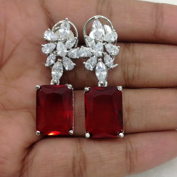 Tempting Wine Red Cubic Zircon Dangle Earrings