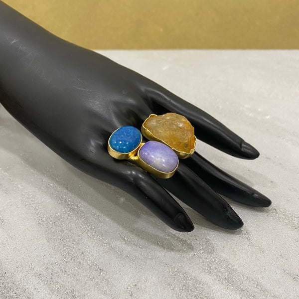 Indigo Azure Citrine Gemstone Ring