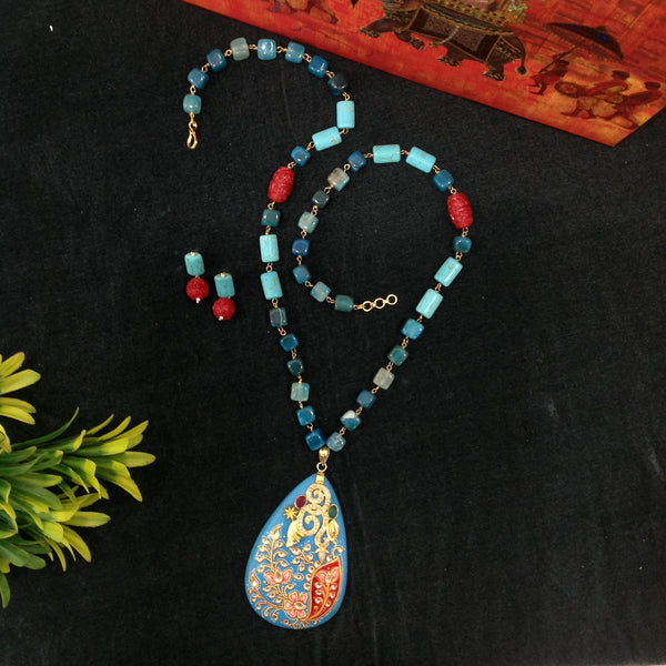 Heavily Handworked Turquoise Pendant with Semi Precious Stone Beads Necklace