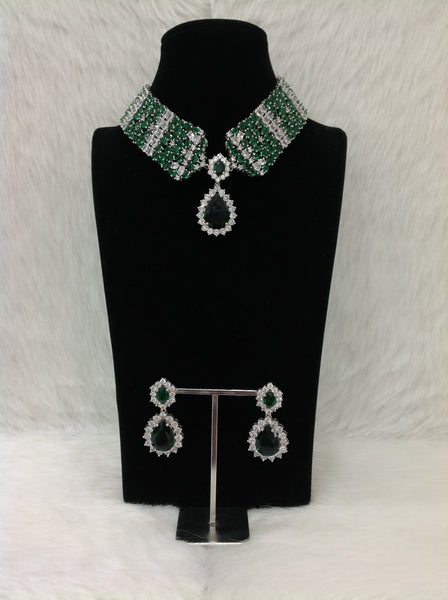 Ethnic Emerald Green Crystal Choker Necklace Set