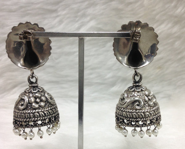 Silver Feathers Long Jhumka Earrings