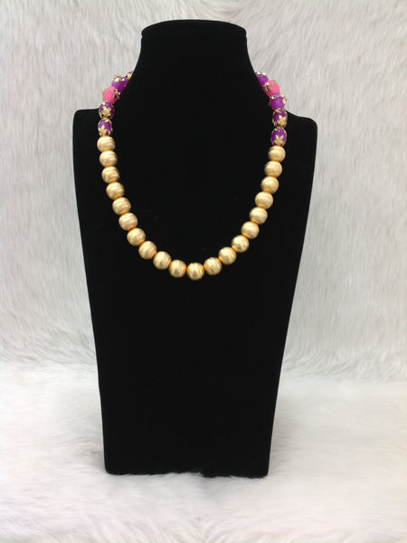 Glorious Golden and Enamel Beads Necklace