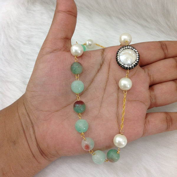 Splendid Seafoam Green Gemstones With Shell Pearl Necklace