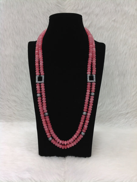 Ruby Pink Two-stranded Necklace