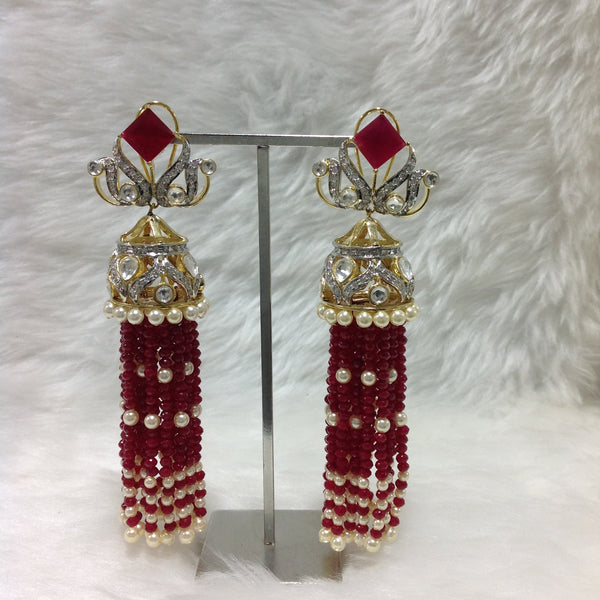 Charismatic Crimson Red Crystal And Kundan Earrings