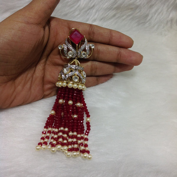 Charismatic Crimson Red Crystal And Kundan Long Earrings