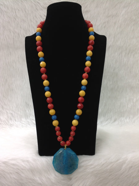 Magnetic Multi-coloured Gemstones And Pendant Necklace