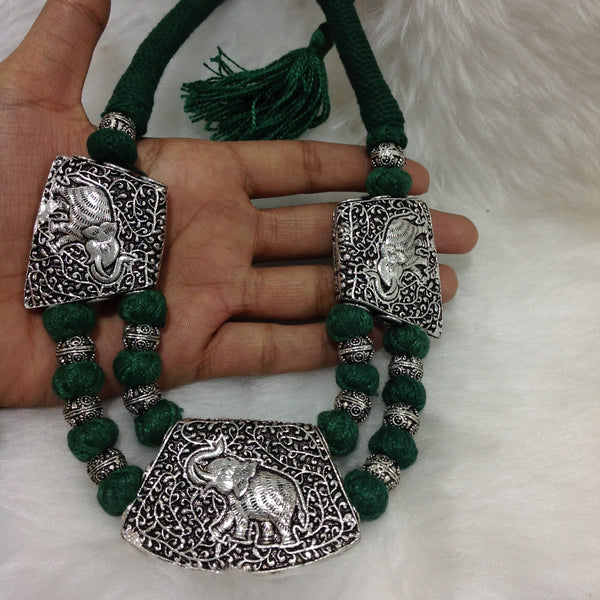 Ethnic Green and Silver threaded Necklace