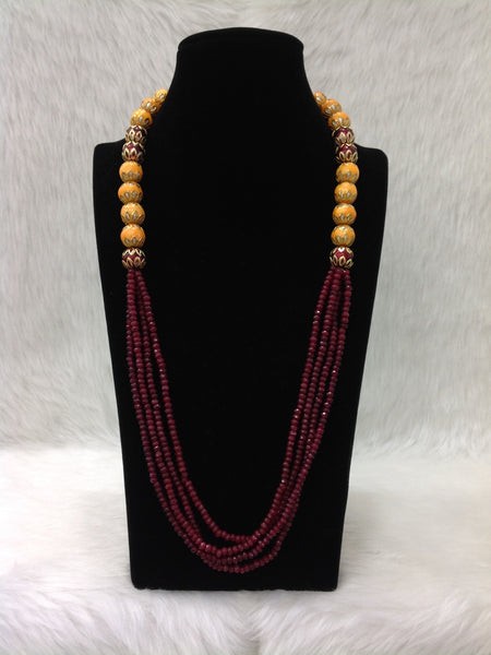 Marvellous Maroon Gemstones With Enamel Beads Necklace