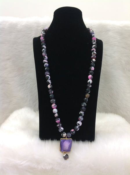 Sensational Shades Of Purple Gemstones with Druzy Stone Necklace