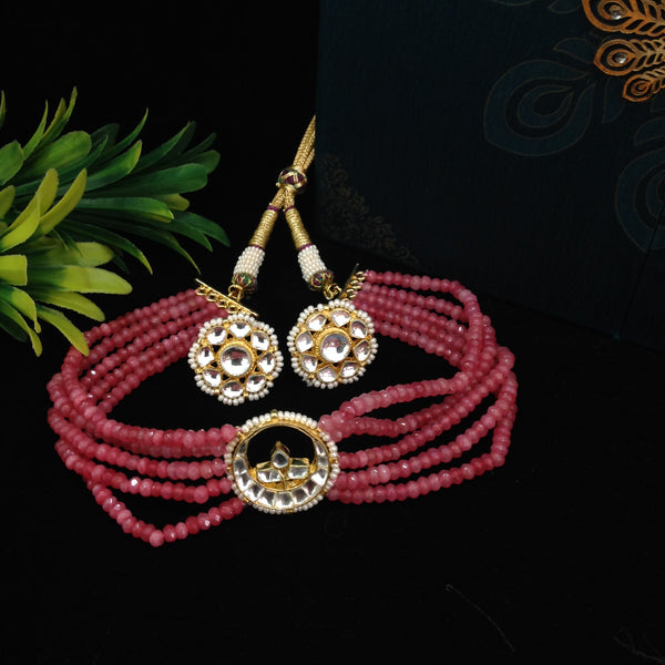 Radiant Cerise Pink Gemstones Kundan Choker Necklace Set