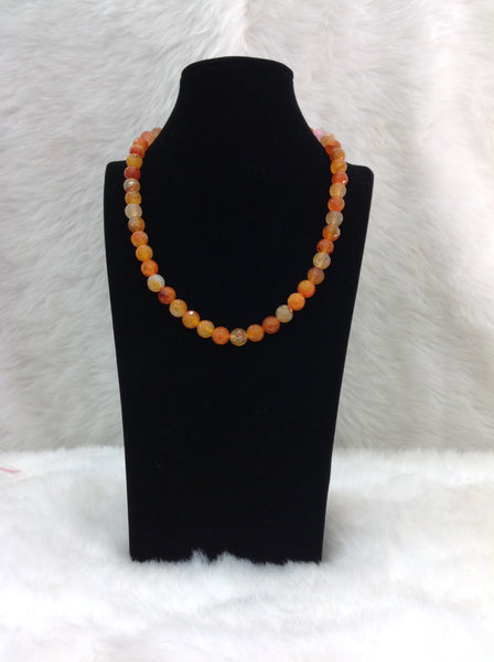 Gleaming Shades of Orange Gemstones Necklace