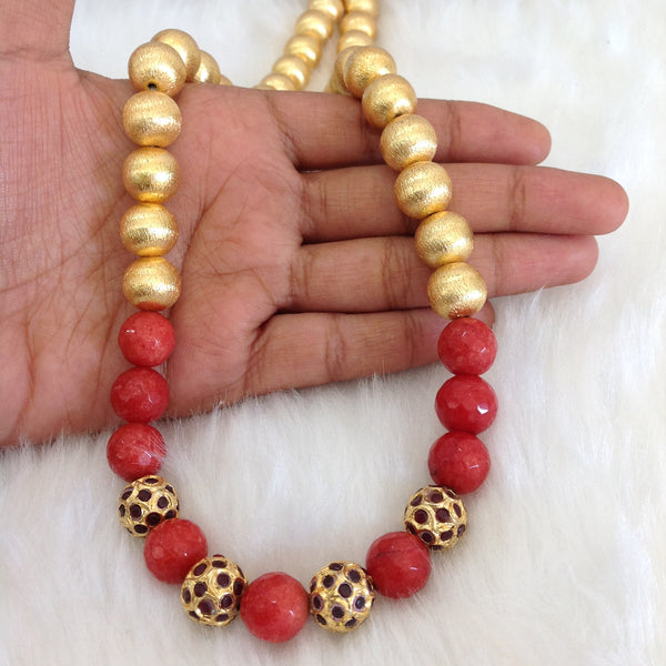 Enigmatic Pastel Red Gemstones Golden Beads Necklace