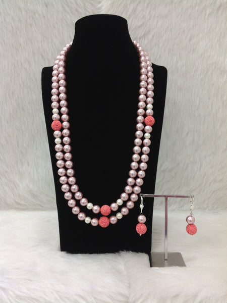 Magnetic Mauve Shell Pearls and Synthetic Coral Beads Necklace Set