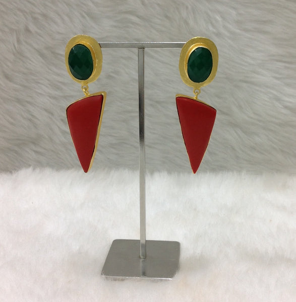 Captivating Red and Green Golden Earrings