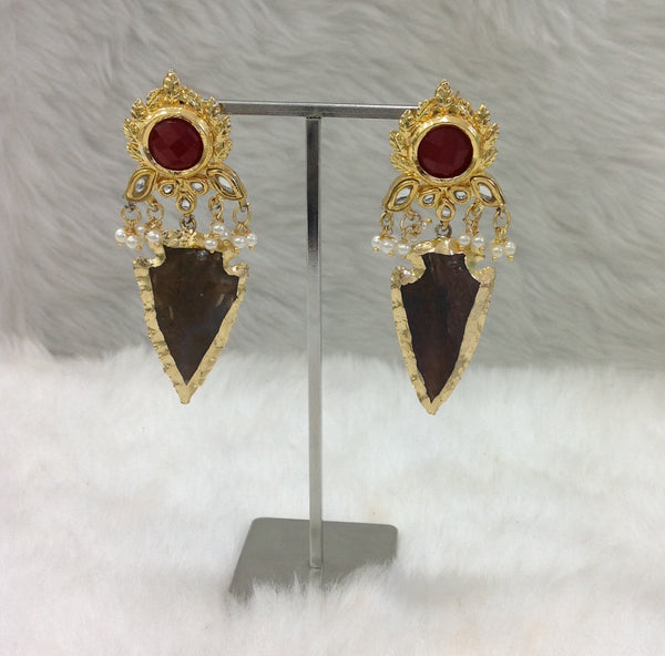Captivating Ruby Red & Brown Earrings