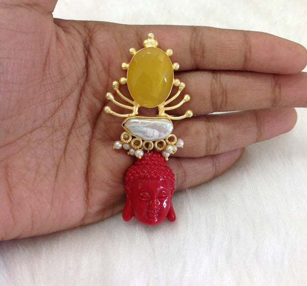 Enlightening Buddha With Citrine and Pearl Earrings