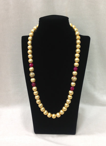 Graceful Pure Golden Beads Necklace