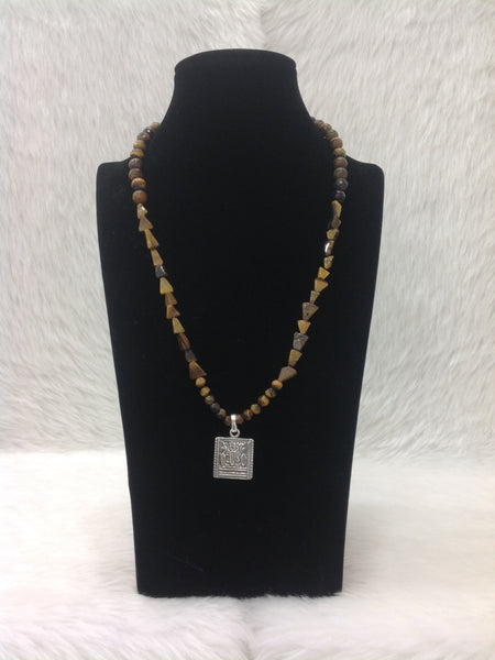 Tremendous Tiger Beads With Silver Pendant Necklace