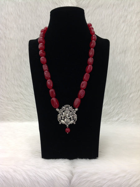 Blossom Blood Gemstones With Silver Pendant Necklace