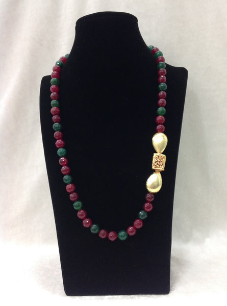 Vibrant Green and Red Gemstones Golden Raindrop Necklace