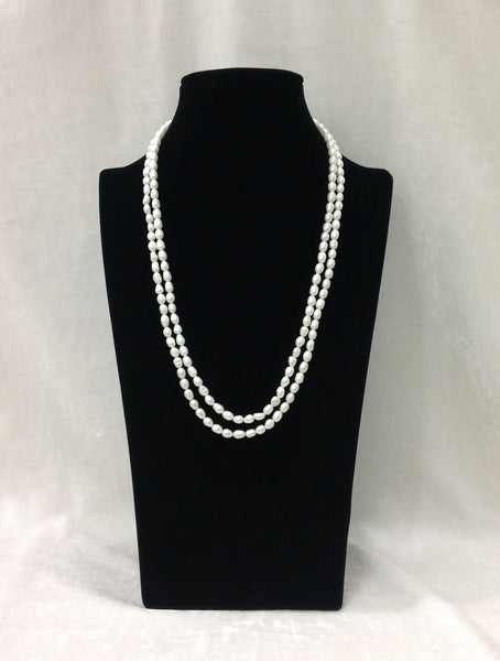 Classic 2 Stranded White Fresh Water Pearls Necklace