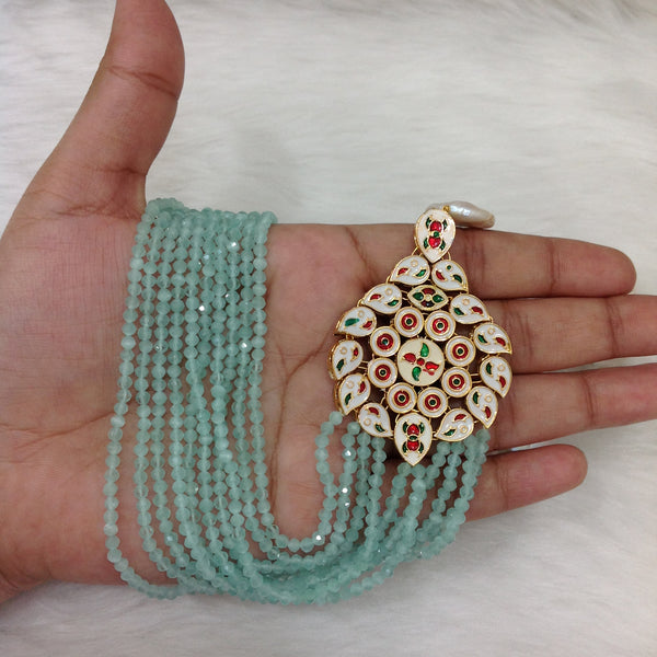 Light Blue Gemstones With Floweret Kundan Necklace Set