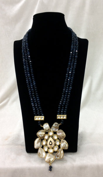 Midnight Blue MOP Pearls With Kundan Necklace