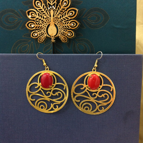 Red Gemstone Long Chandbali Earrings