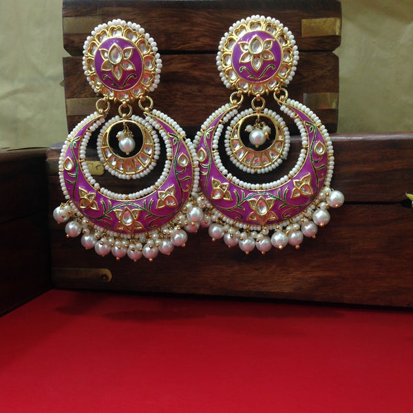 Orchid Purple Meenakari Kundan Pearl Chandbali Earrings