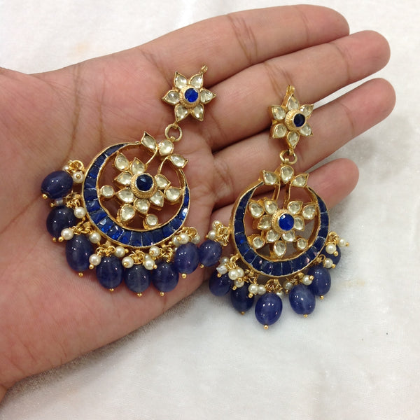 Smiling Blues Kundan Gold Chandbali Earrings
