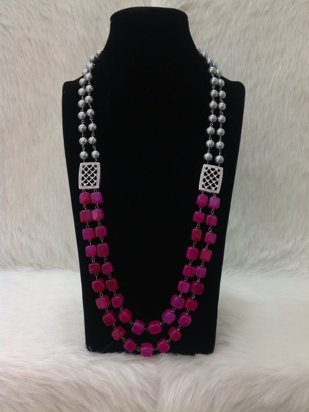 Alluring Pink & Silvery Necklace