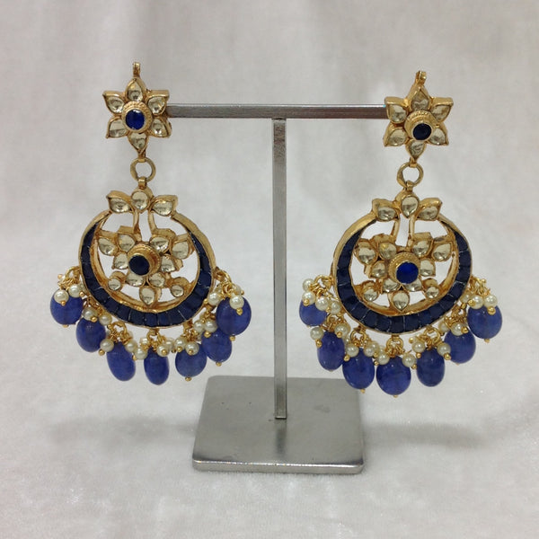 Smiling Blues Kundan Gold Earrings