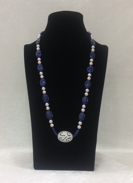 Rich Smashing Blue Pearls and Crystal Necklace