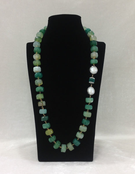 Classic Aqua Agate Stones and Baroque Pearls Necklace