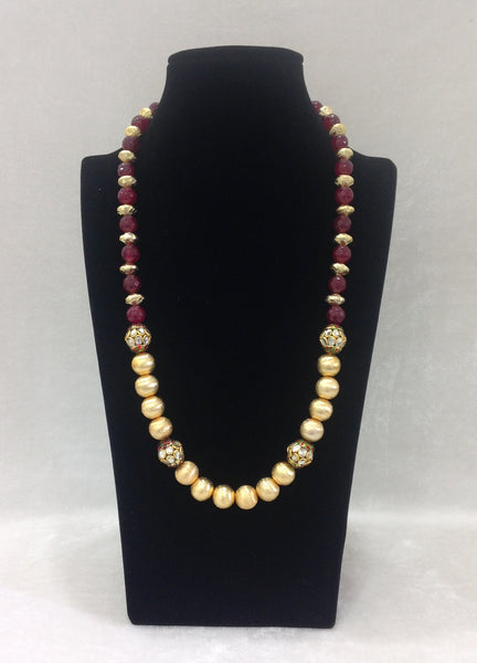 Cultured Combination of Golden and Maroon Necklace
