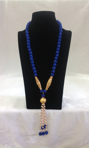 Scintillating Synthetic Blue Coral Beads Necklace